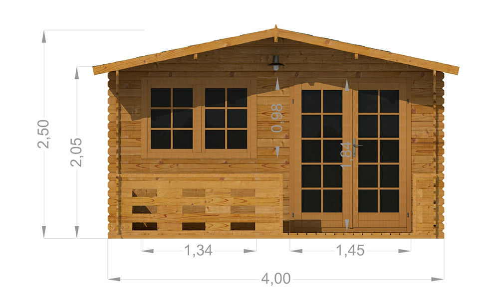 Alva Log Cabin Front Elevation