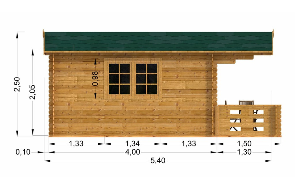 Alva Log Cabin Left Elevation