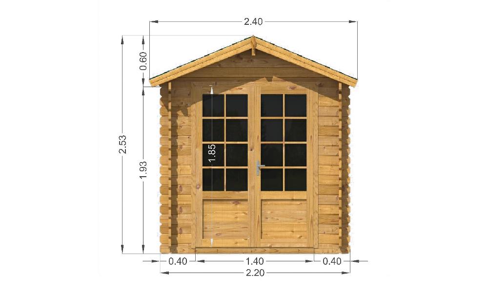 Bromham Log Cabin Front Elevation