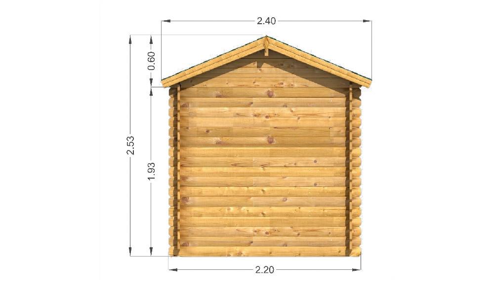 Bromham Log Cabin Rear Elevation