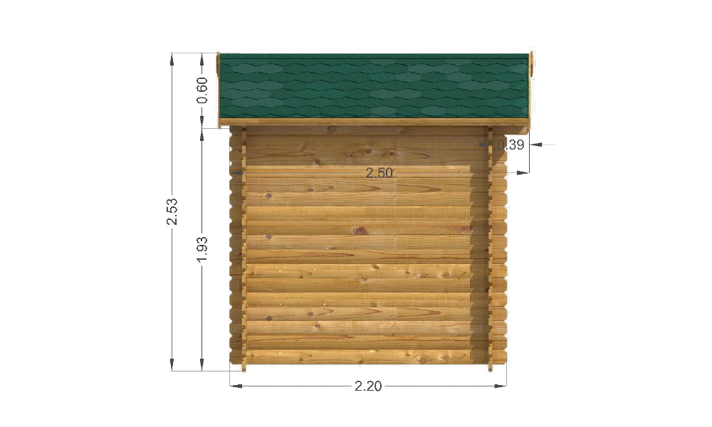 Bromham Log Cabin Left Elevation