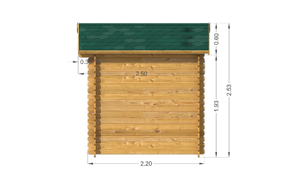 Bromham Log Cabin Right Elevation
