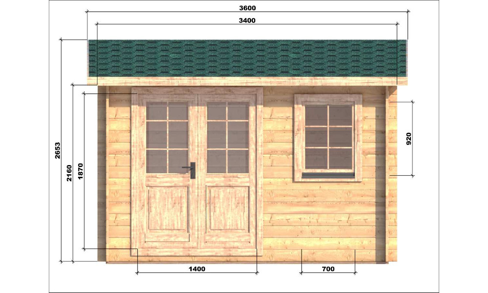 Erna Log Cabin Front Elevation