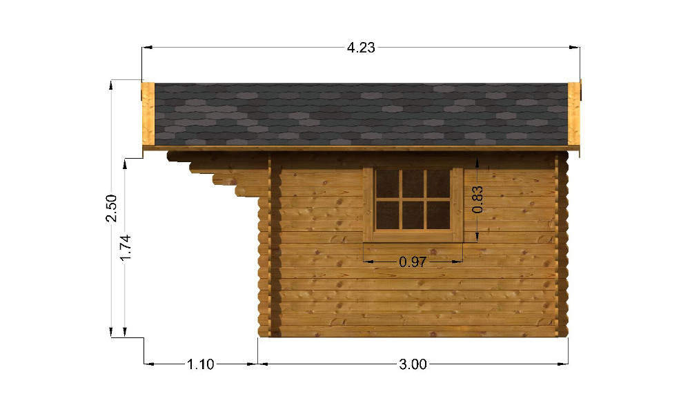 Imperial Log Cabin Right Elevation