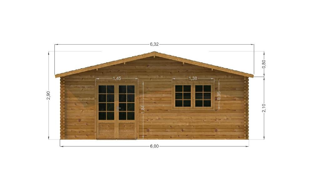 Midhurst Log Cabin Front Elevation