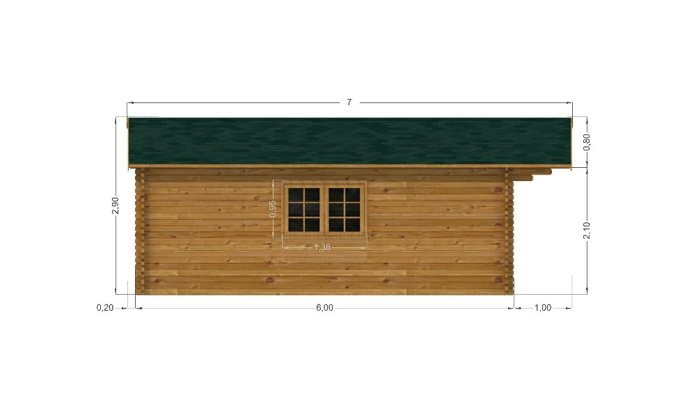 Midhurst Log Cabin Left Elevation