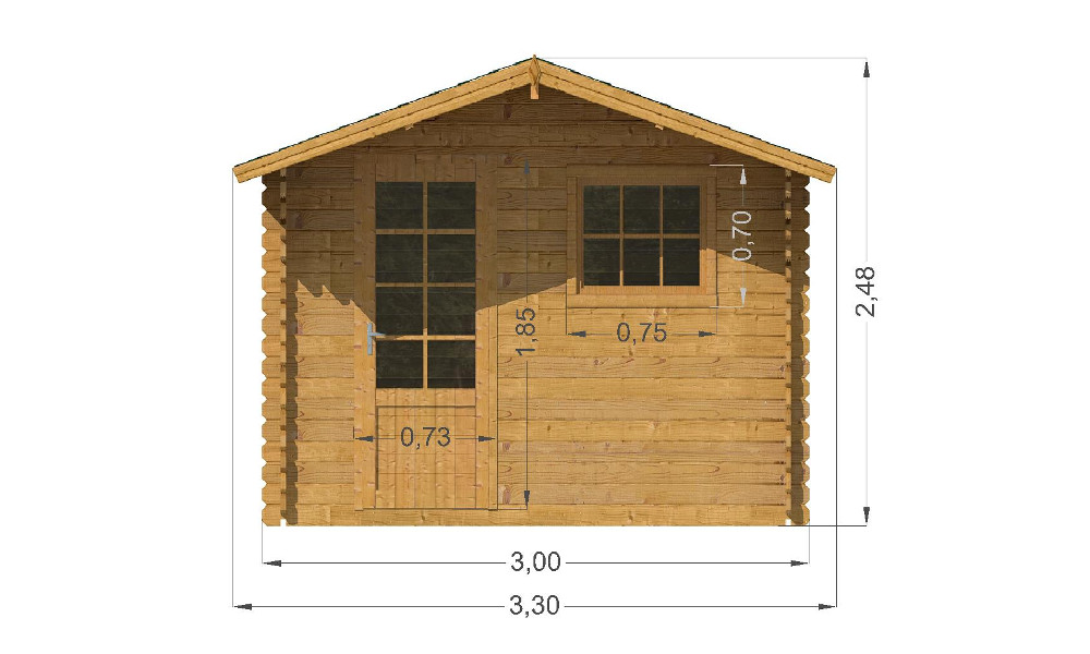 Modena Log Cabin Front Elevation