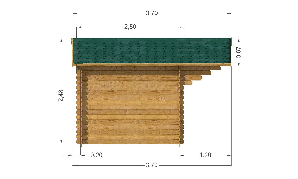 Modena Log Cabin Left Elevation