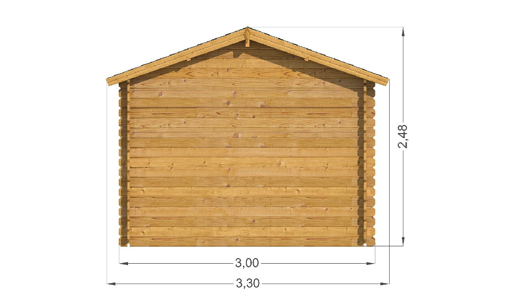 Modena Log Cabin Rear Elevation