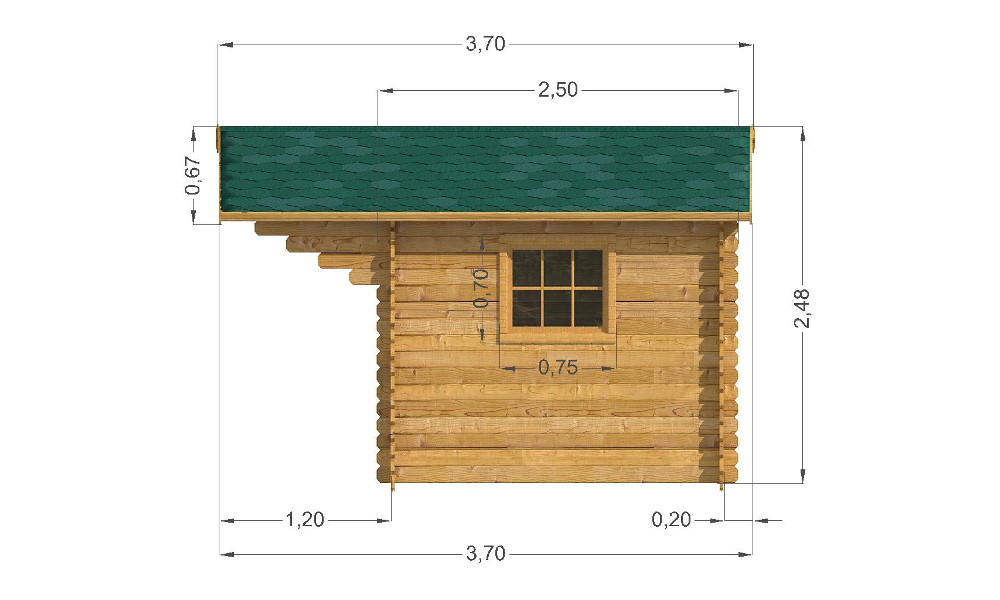 Modena Log Cabin Right Elevation