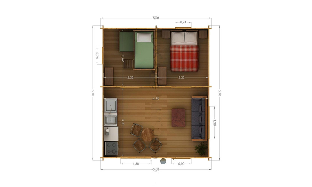 Eco Log Cabin Floor Plan