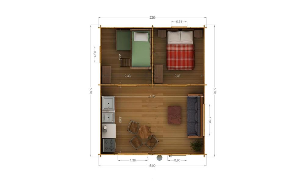 Eco Log Cabin Floor Plan