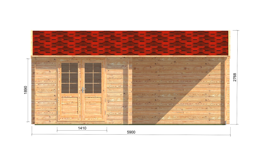 Elise Log Cabin Front Elevation