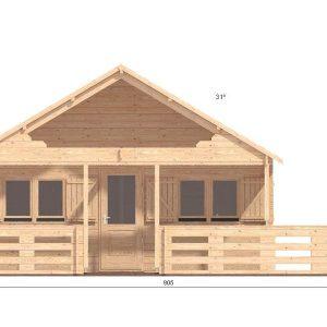 Gustav B Log Cabin Front Elevation