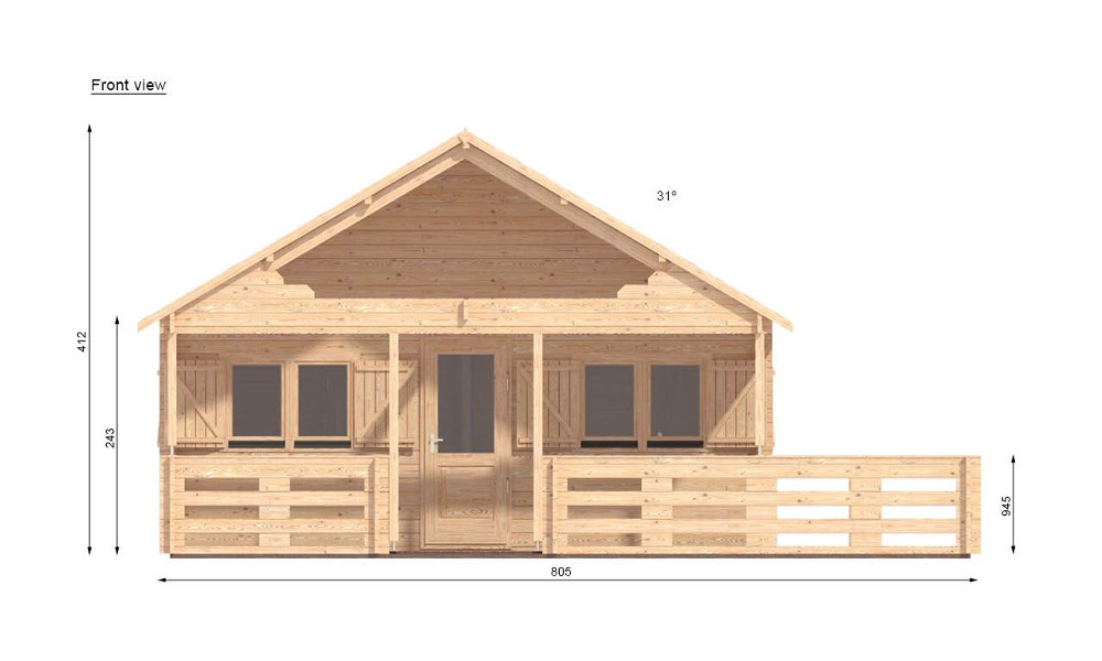Gustav B Log Cabin Front Elevation