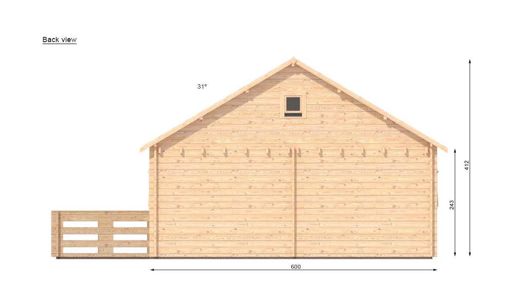 Gustav B Log Cabin Rear Elevation