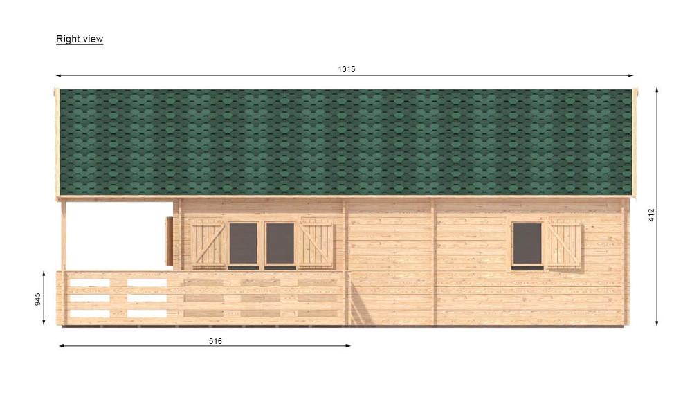 Gustav B Log Cabin Right Elevation