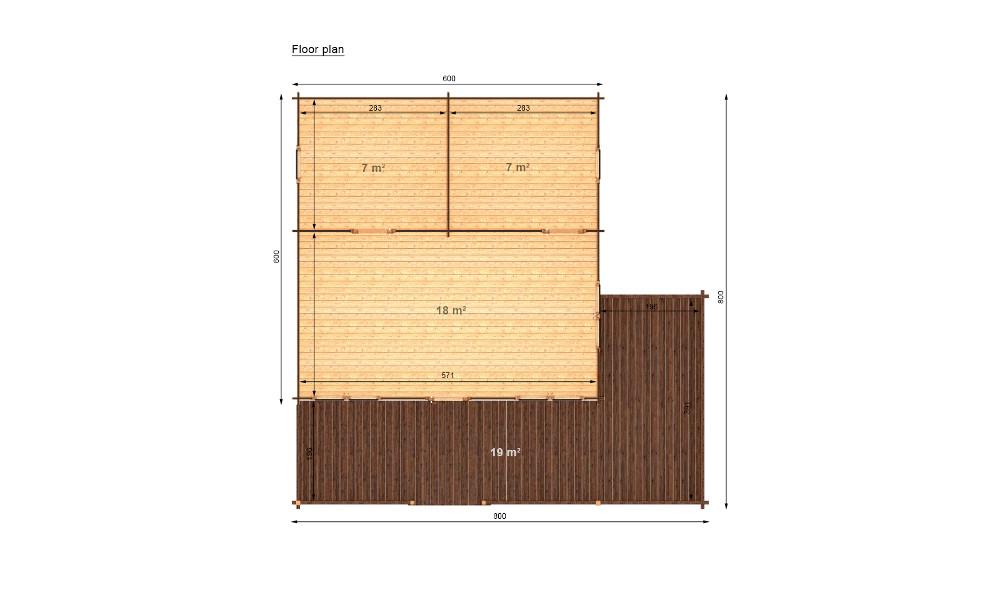 Gustav Log Cabin Floor Plan Showing Dimensions