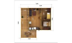 Gustav Log Cabin Floor Plan Showing Ground Floor Layout