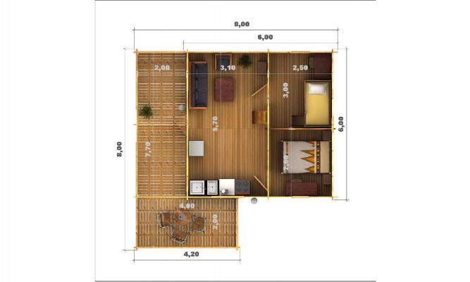 Gustav Log Cabin Floor Plan Showing Ground Floor Layout