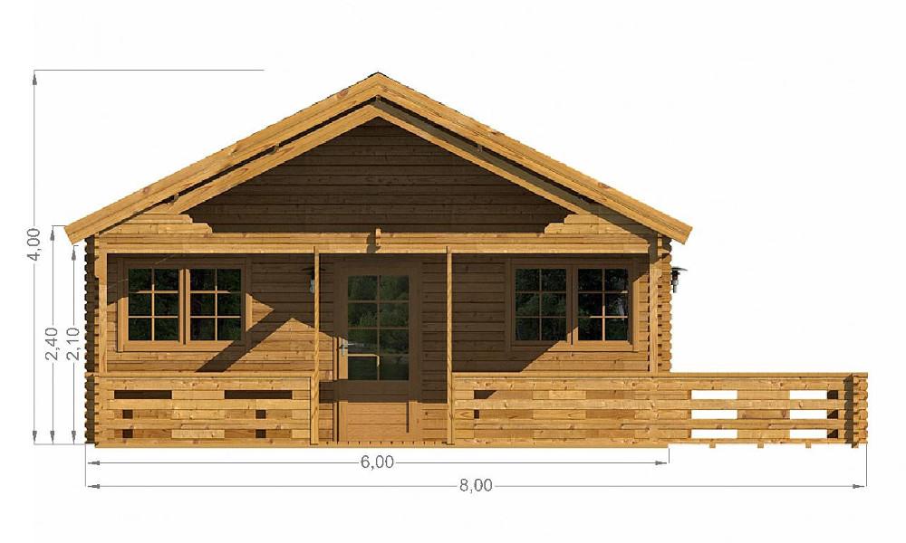 Gustav Log Cabin Front Elevation