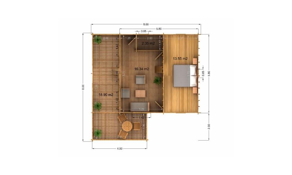 Gustav Log Cabin Rear Elevation Showing First Floor Room
