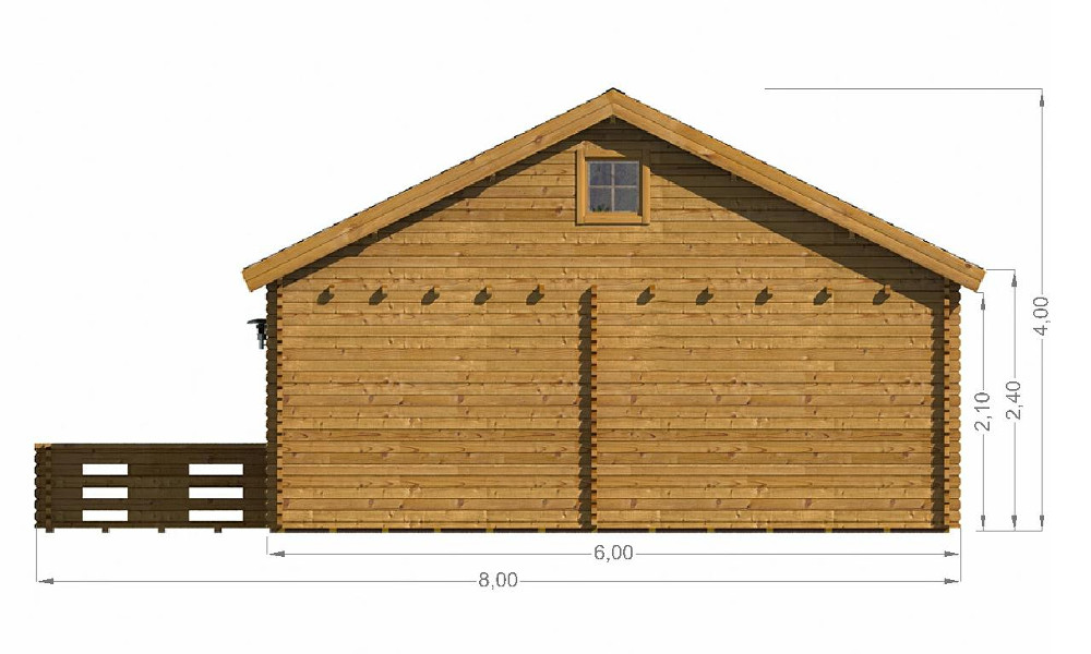 Gustav Log Cabin Rear Elevation