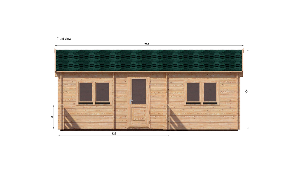Hakan B Log Cabin Front Elevation
