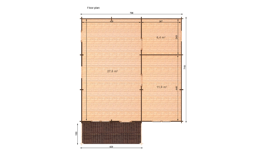 Hakan B Log Cabin Floor Plan