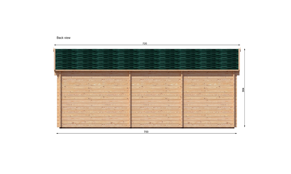 Hakan B Log Cabin Rear Elevation