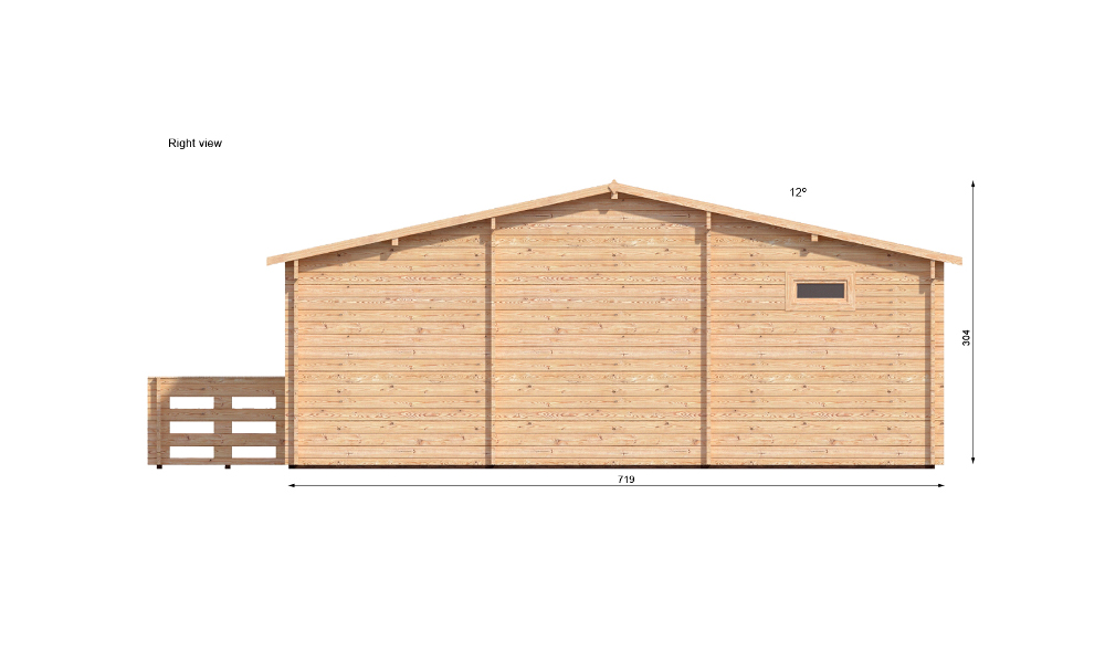 Hakan B Log Cabin Right Elevation