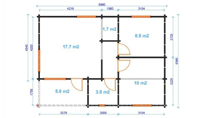 Iberica T2 Log Cabin Floor Plan