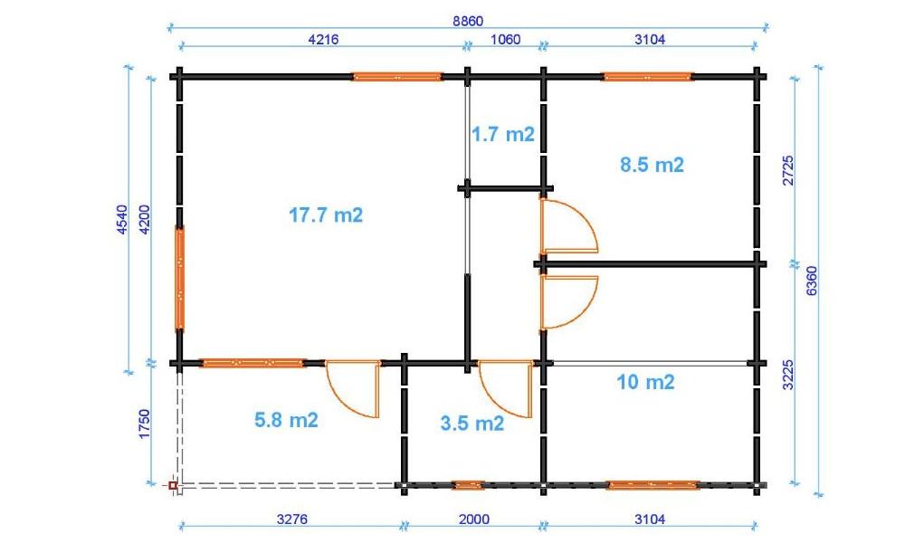 Iberica T2 Log Cabin Floor Plan