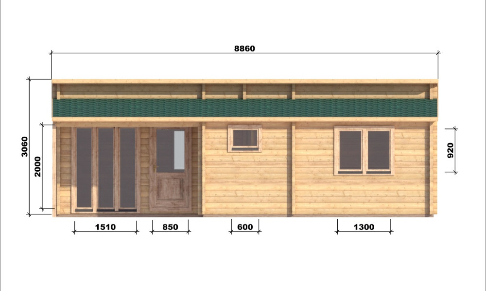 Iberica T2 Log Cabin Front Elevation