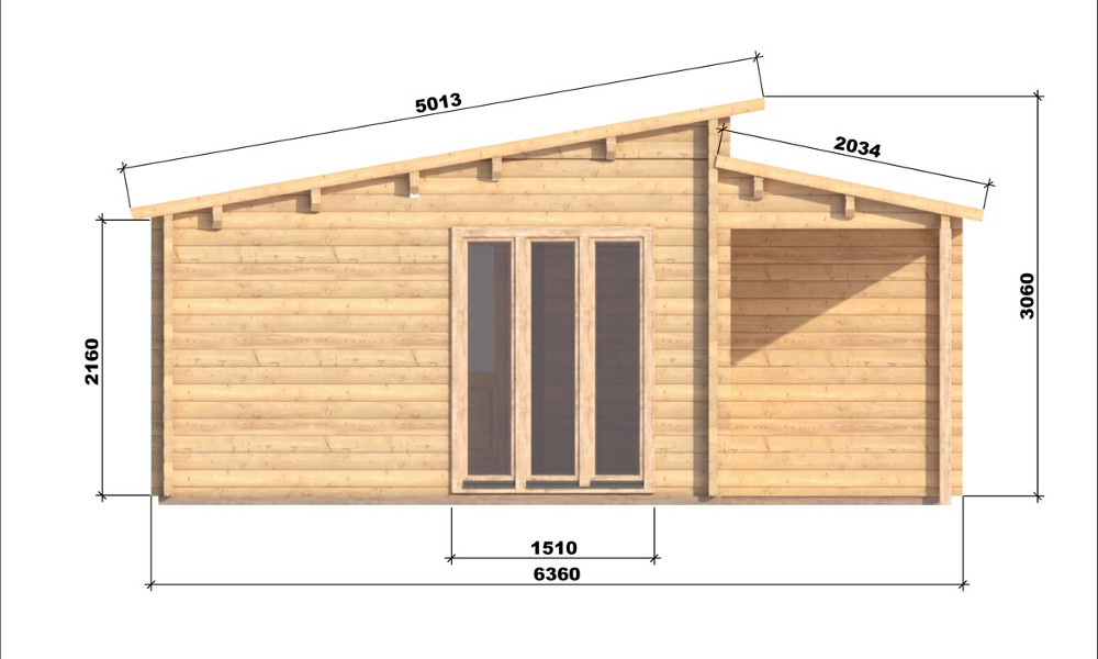 Iberica T2 Log Cabin Left Elevation