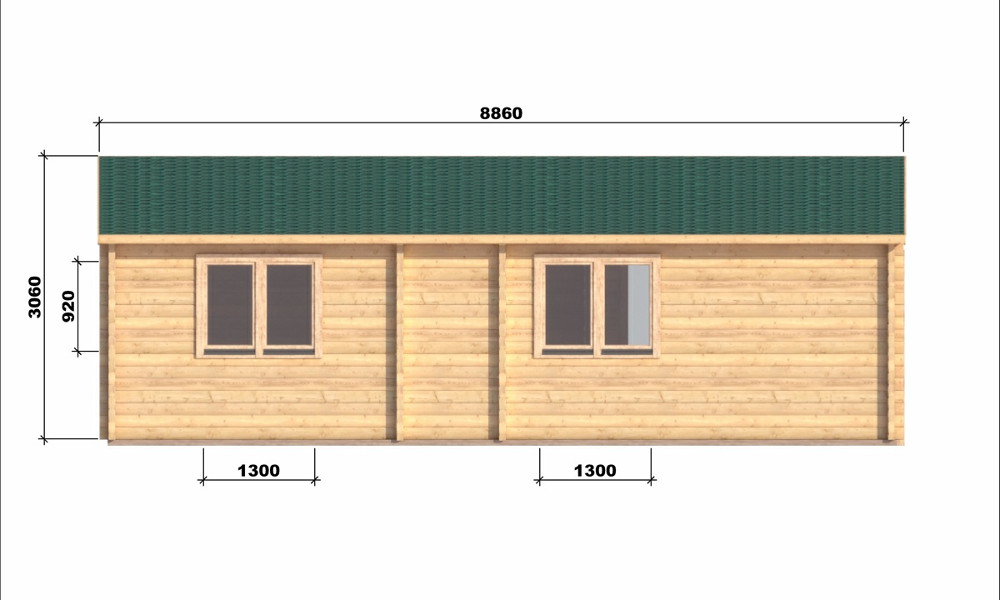 Iberica T2 Log Cabin Rear Elevation