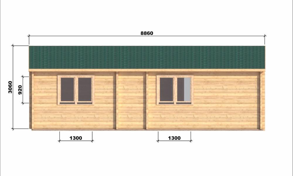 Iberica T2 Log Cabin Rear Elevation