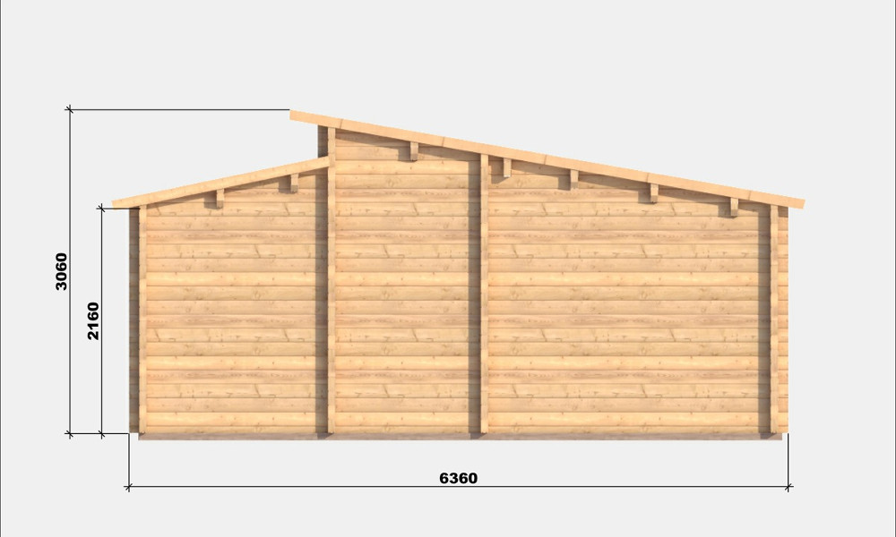 Iberica T2 Log Cabin Right Elevation