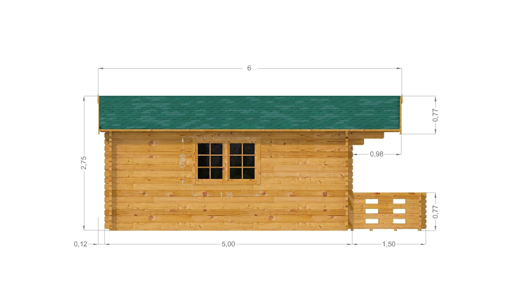 Laurel Log Cabin Left Elevation