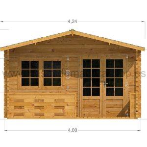 Lucas Log Cabin Front Elevation