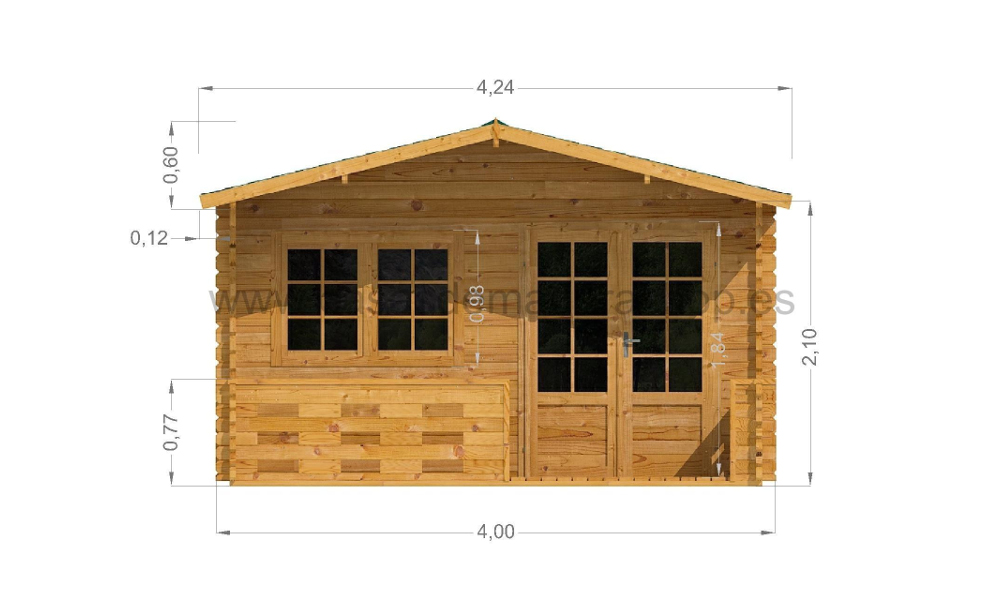 Lucas Log Cabin Front Elevation