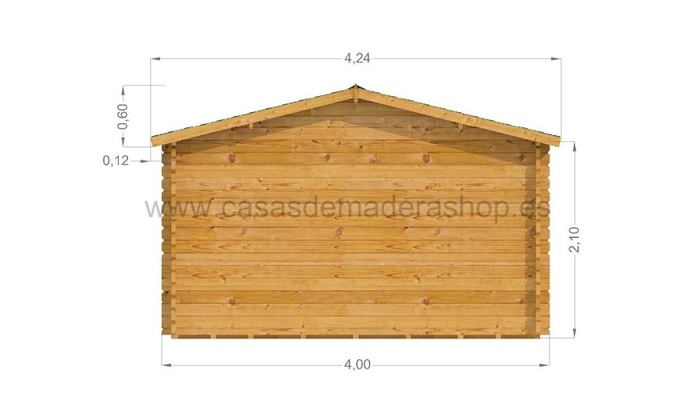 Lucas Log Cabin Rear Elevation