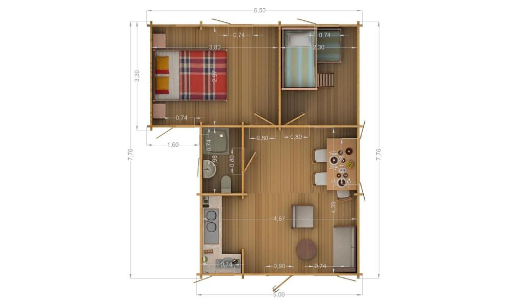 Lukas Log Cabin Floor Plan