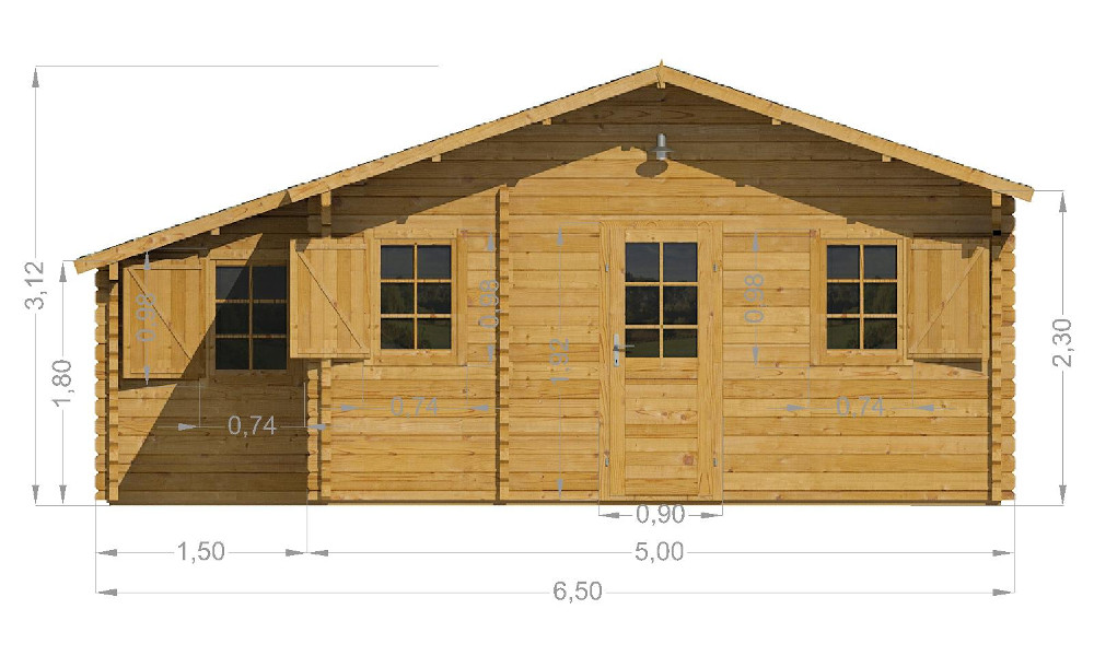 Lukas Log Cabin Front Elevation