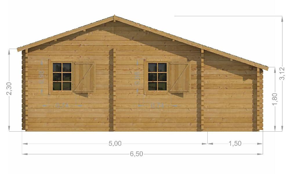 Lukas Log Cabin Rear Elevation