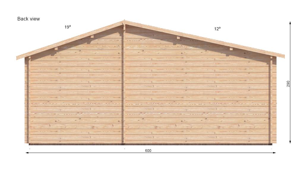 Padova B Log Cabin Rear Elevation