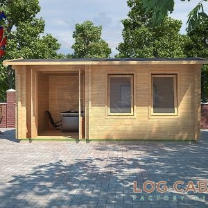 Shrewsbury Log Cabin Front Elevation