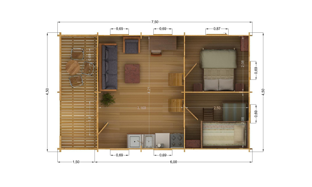 Torino Log Cabin Ground Floor Plan