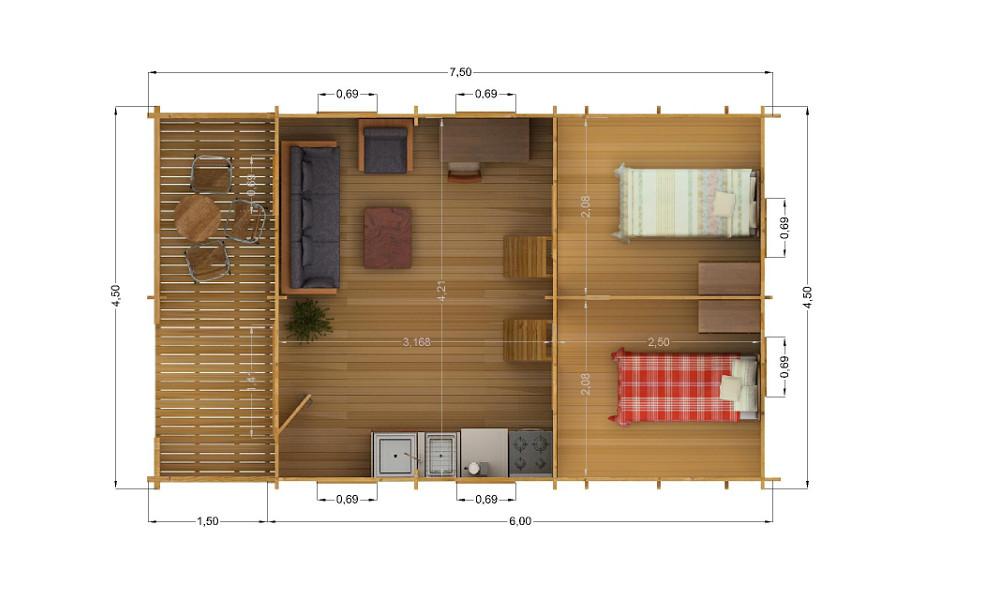 Torino Log Cabin Upper Floor Plan