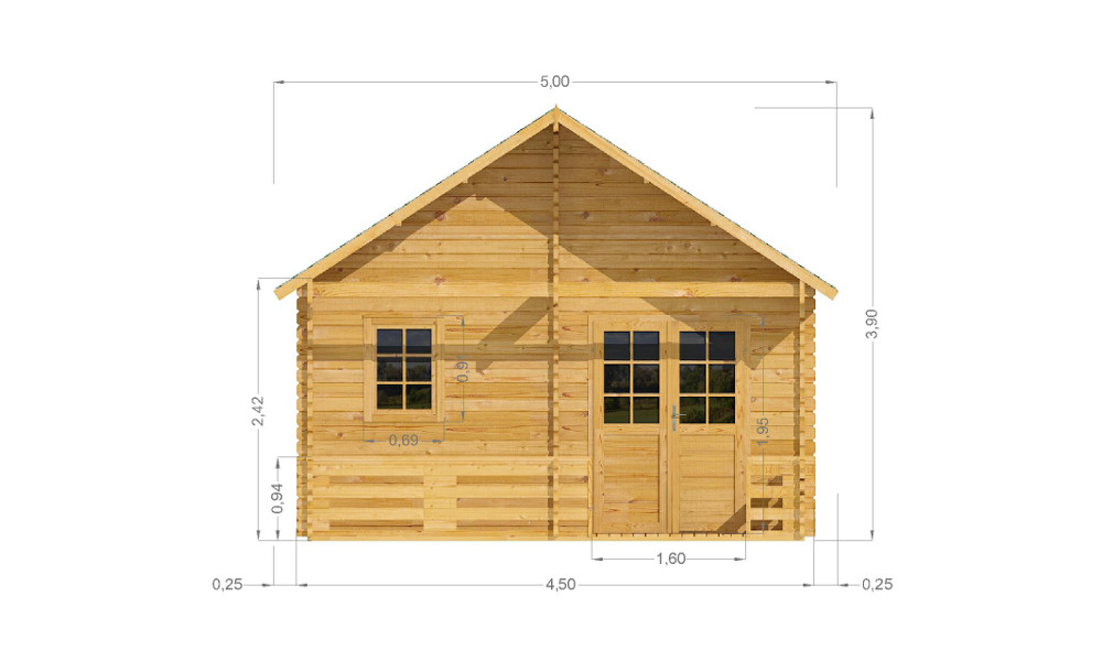 Torino Log Cabin Front Elevation
